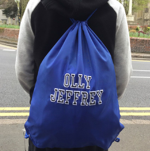 Personalised VARSITY FONT  Drawstring PE Swim Bag
